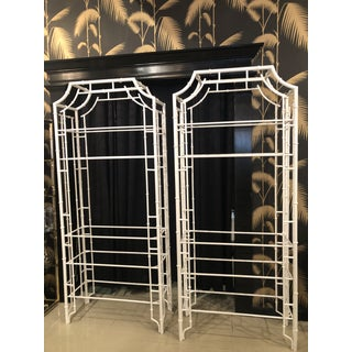 Vintage Chinese Chippendale Newly White Powder-Coated Faux Bamboo Pagoda Metal Shelves Etageres -A Pair Preview