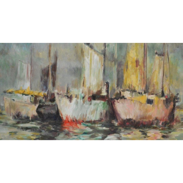 """A framed oil painting on canvas, """"Menhaden Boats"""" that is signed in the lower right H. Ahysen. 29.5""""h, 35.5""""w, overall:..."""