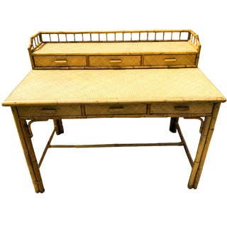 Vintage Mid Century Bamboo &Rattan Desk Burnt Bamboo and Rattan Gallery Desk For Sale
