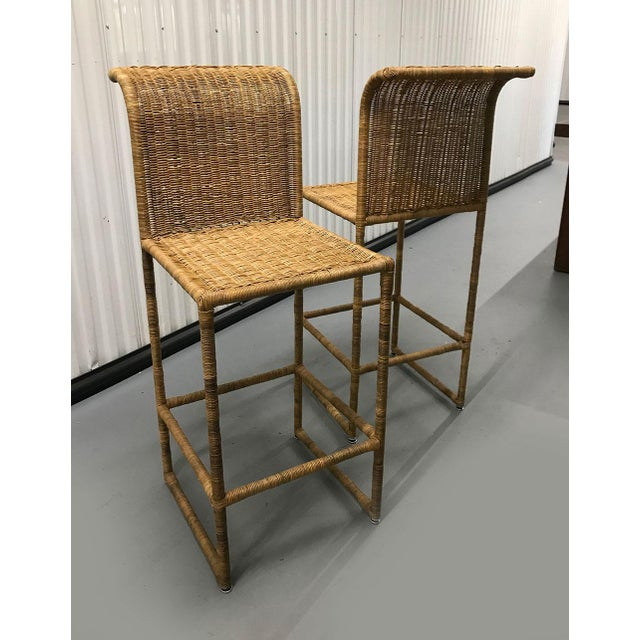 Wood Mid-Century Modern Rattan Bar Stools - a Pair For Sale - Image 7 of 13