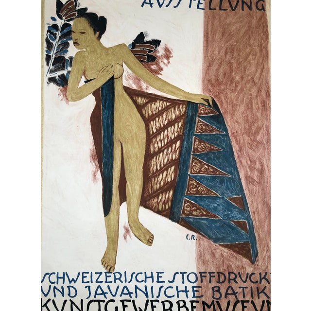 Blue 1919 Poster for Swiss Exhibition of Javanese Indonesian Batik Prints For Sale - Image 8 of 12
