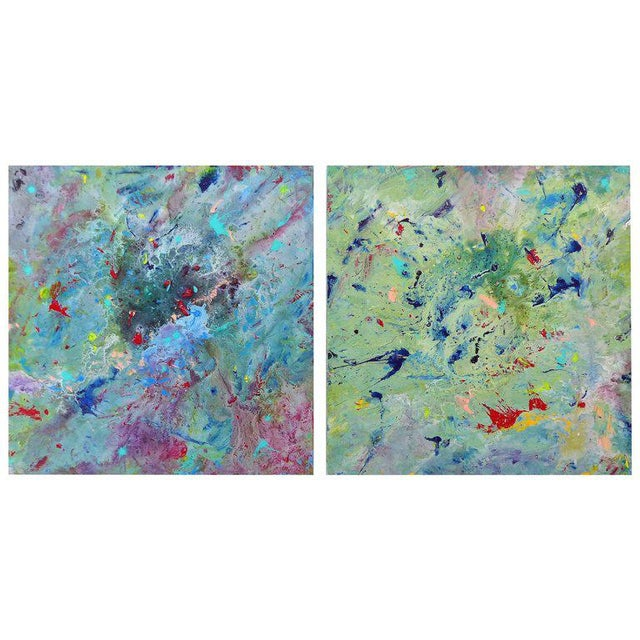 Diptych Abstract Paintings by Brazilian Artist Sandro War - A Pair For Sale - Image 11 of 11