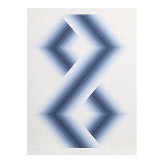 """Babe Shapiro, """"Blue Hexagons"""", Op Art Screenprint For Sale"""