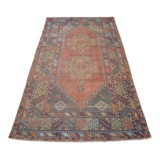 Vintage Turkish Hand Knotted Area Rug - 3′11″ × 7′8″ For Sale