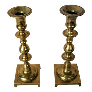 1960s Traditional Brass Candlesticks - a Pair For Sale