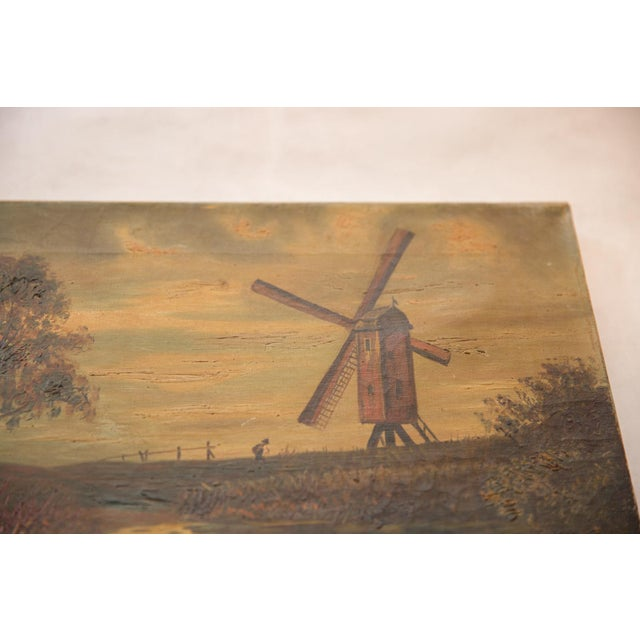 Antique Countryside Landscape Windmill Painting For Sale - Image 4 of 8