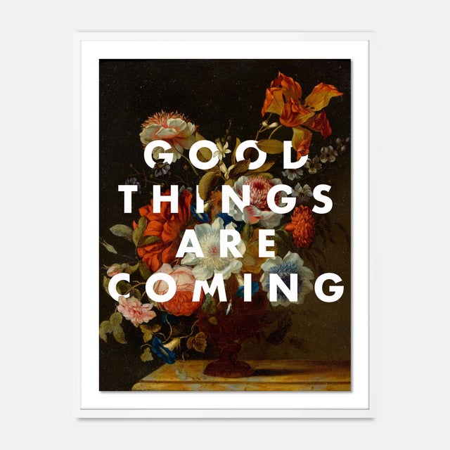 Contemporary Good Things Are Coming by Lara Fowler in White Framed Paper, Medium Art Print For Sale - Image 3 of 3