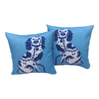 "Custom Staffordshire Blue 20"" Outdoor Canvas Pillow Covers - A Pair For Sale"