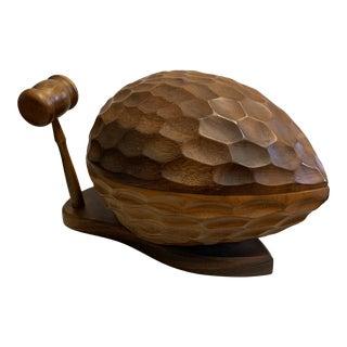 1970s Carved Hardwood Mid-Century Lidded Nut Bowl For Sale