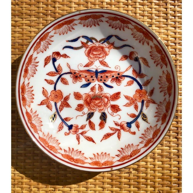 Orange Mid-20th Century Ritz Carlton Imari Coral Butterfly and Gold Accented Bowl For Sale - Image 8 of 8
