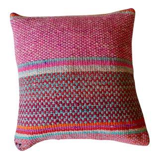 "17"" Boho Chic Peruvian Pink Wool Frazada Pillow"