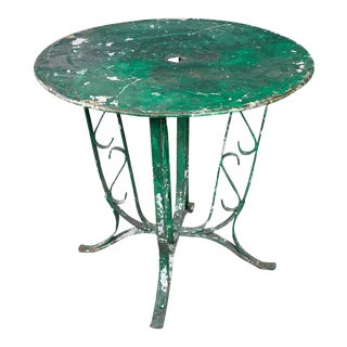 French 1920s Green Garden Table For Sale