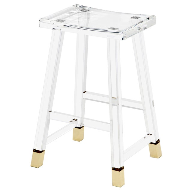 Contemporary Reva Counter Stool - Brass For Sale - Image 3 of 3