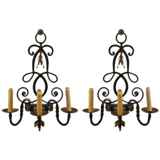 Classical Wrought Iron and Gilt Three-Light Sconces - A Pair