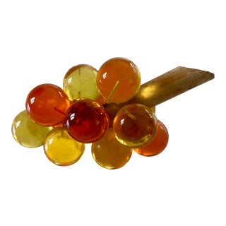 Mid-Century Orange and Amber Lucite Grape Bunch For Sale