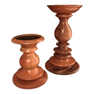 Pottery Barn Graduating Coated Fruitwood Pillar Candle Holders - a Pair For Sale