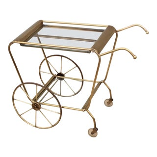 Mid-Century Modern Solid Brass Italian Bar Cart For Sale