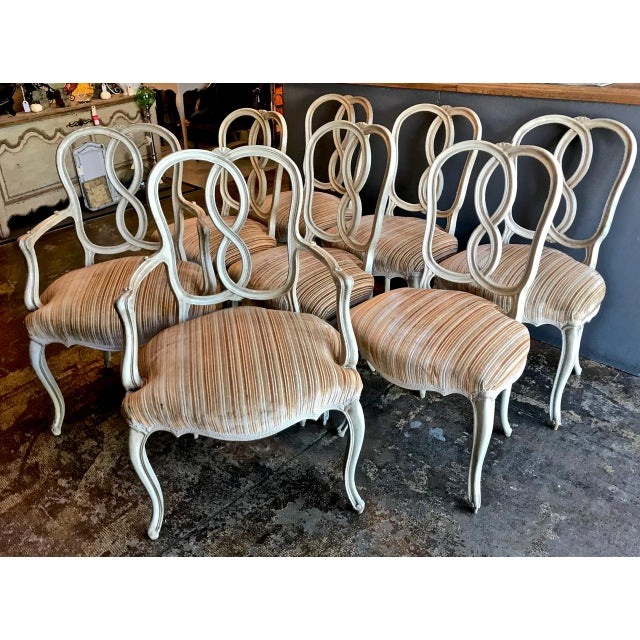 Set of 8 Italian-Ventian Style Ribbon Back Dining Chairs For Sale - Image 12 of 12