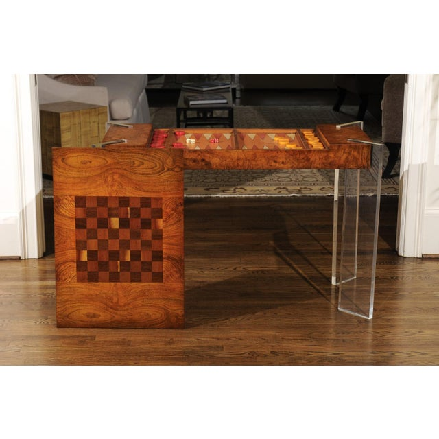 Superb Bookmatch Olivewood Console, Game Table and Writing Desk, Circa 1975 For Sale In Atlanta - Image 6 of 13