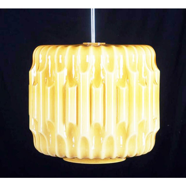 Large Mid-Century Glass Hanging Lamp, 1960s For Sale - Image 4 of 8