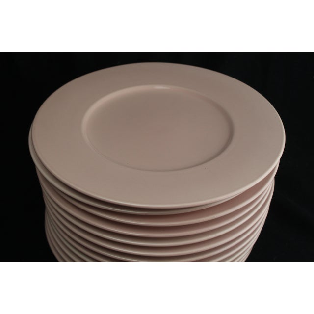 """Set of 12 rose pink Mikasa chargers. 13"""" diameter and oven, dishwasher, and microwave safe."""