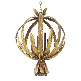 "Vintage Mid Century Brutalist Circular ""Bouquet"" Pendant Light Fixture For Sale"