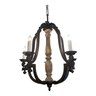 Dennis and Leen Iron and Wood Chandelier For Sale