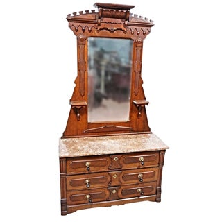 19th Century Antique Walnut Victorian Vanity with Mirror For Sale