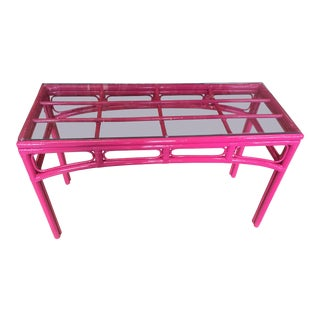 Fuscia High Gloss Rattan Console For Sale