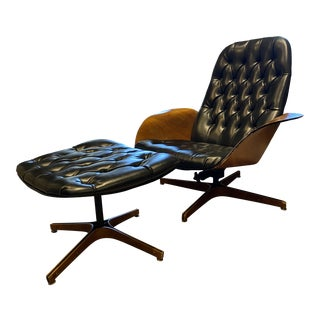 1964 Lounge Chair (Mr. Chair Ii) by George Mulhauser for Plycraft and Ottoman For Sale