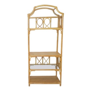 1980s Chinoiserie Rattan Pagoda Top Etagere For Sale