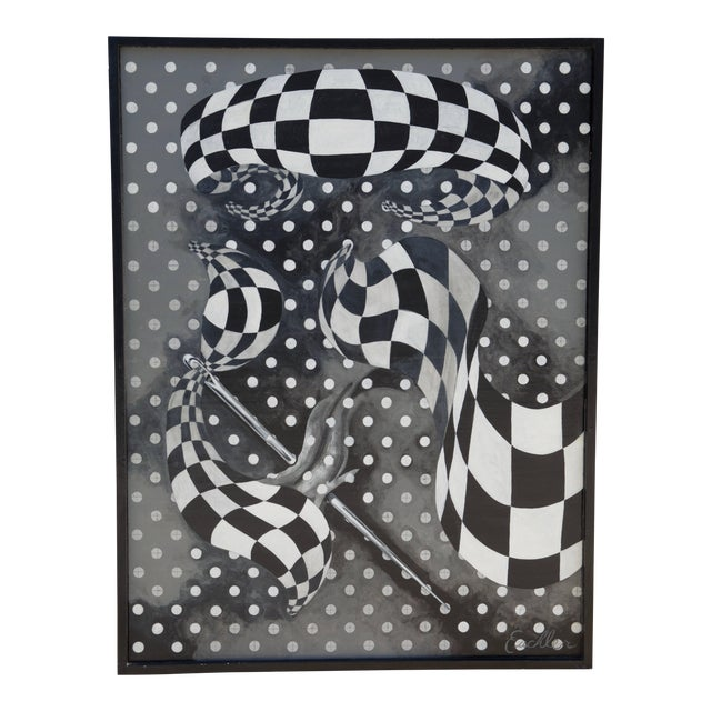 Large Black and White Abstract Painting by Euchler For Sale