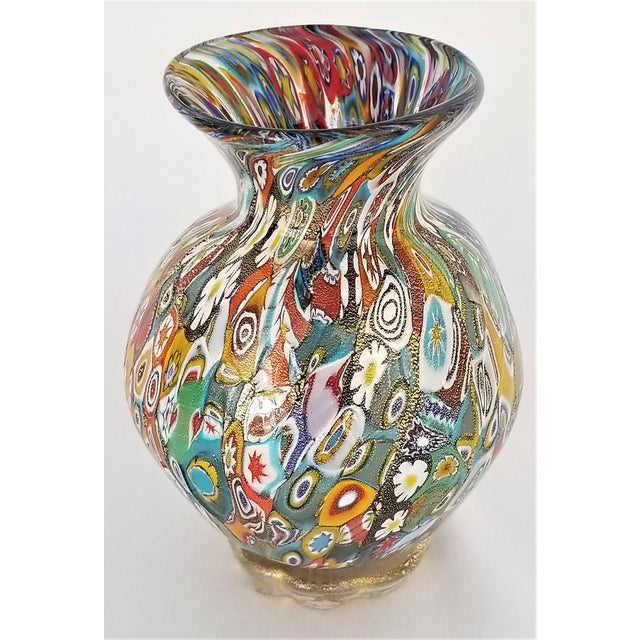 Palm Beach Chic Circa 1990s: Vintage Murano Glass Millefiori Vase With Gold-Mid Century