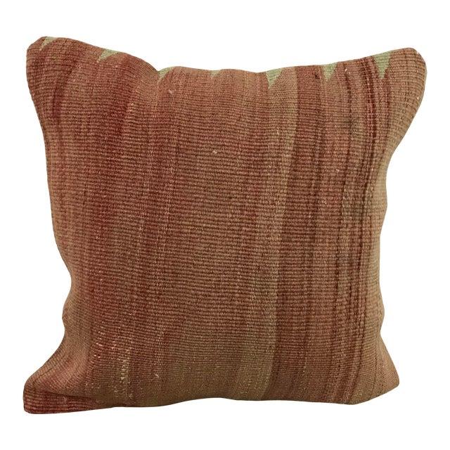 Turkish Faded Hand Woven Sofa Kilim Pillow For Sale