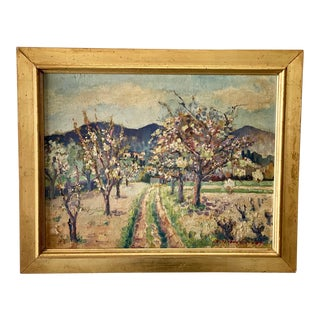 Mid 20th Century Original Oil on Board of Cherry Trees by Gallieure For Sale