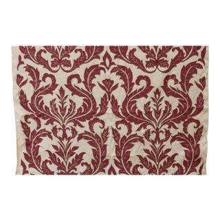 Vintage French Appliqued Linen Fabric For Sale