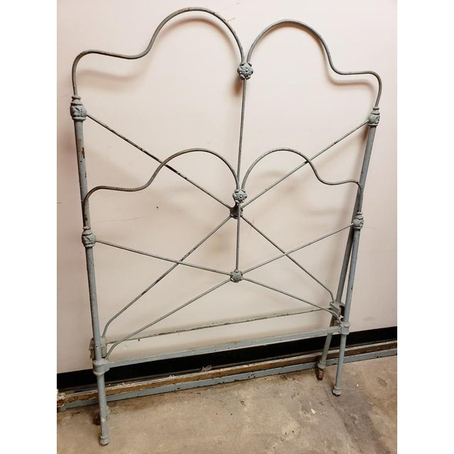 Antique single twin cast iron bed painted a pale blue. This is a project, but only as challenging as you make it. You can...