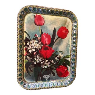 Red Roses Tin Tray Signed For Sale