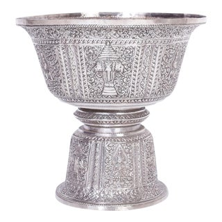 Anglo Indian Large Silver Footed Bowl For Sale