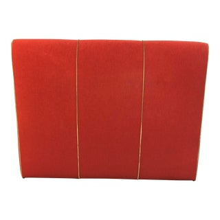 Queen Headboard Red Upholstery + Gold Accents For Sale