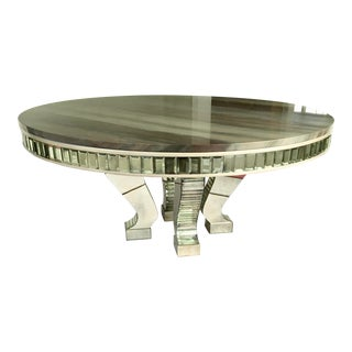 Custom Marble Top With Mirrored Legs Dining Table
