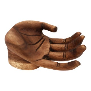 Vintage Wood Carved Human Hand Figurine For Sale