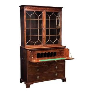 English Secretary Bureau Bookcase of Mahogany from the Georgian Era For Sale