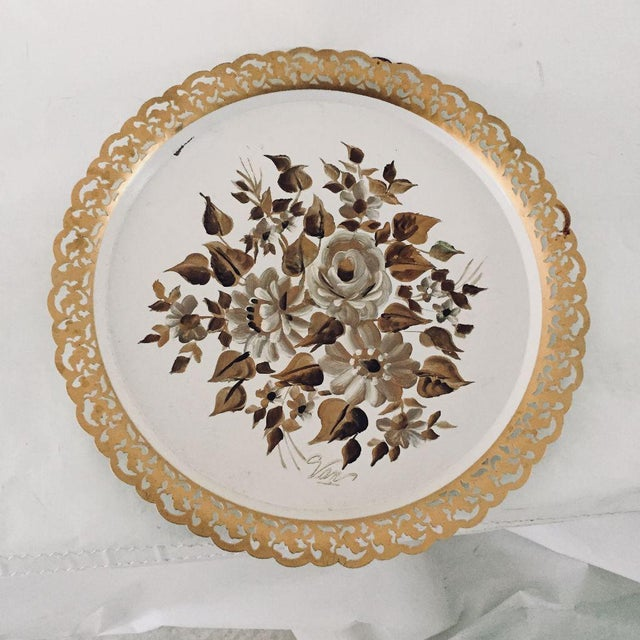 Metal Vintage Hand Painted Floral Tole Tray For Sale - Image 7 of 7