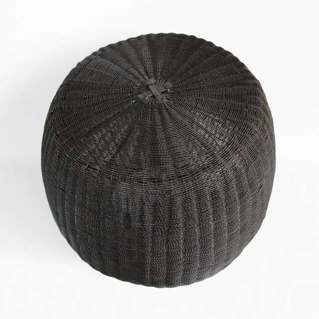 Contemporary Blackened Wire Barrel Stool For Sale - Image 3 of 3