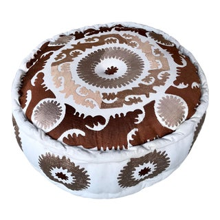 Suzani Round Pouf Ottoman, Hand-Sewn For Sale