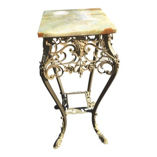 Antique Art Nouveau French Bronze Marble 2 Tiered Side Table For Sale