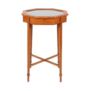 1910s Traditional Birch Octagonal Vitrine Table For Sale
