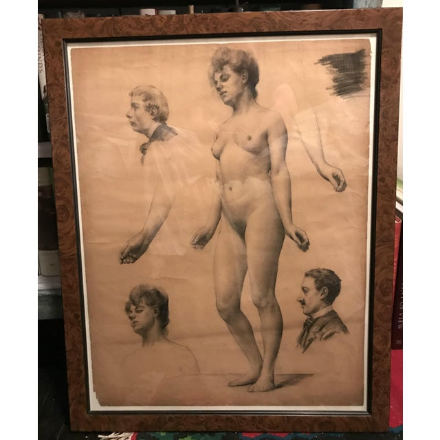 A full length Study of a female nude surrounded by studies of three heads and two studies of lower arms. Framed in a...