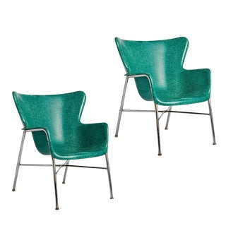 Pair of Incredible Wingback Fiberglass Chairs by Selig Circa 1960s